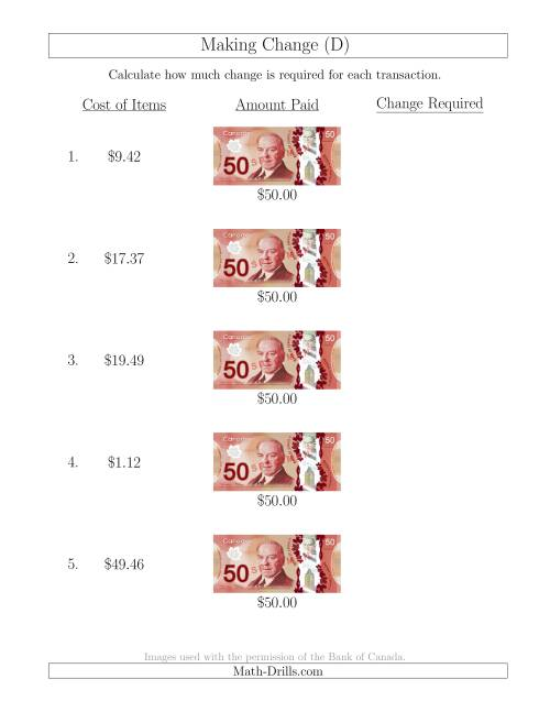The Making Change from Canadian $50 Bills (D) Math Worksheet