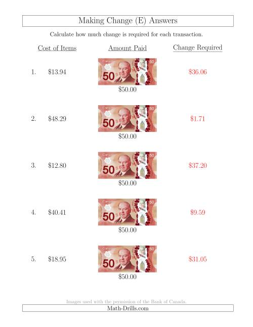 The Making Change from Canadian $50 Bills (E) Math Worksheet Page 2
