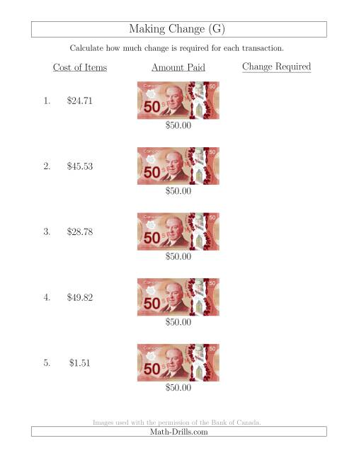The Making Change from Canadian $50 Bills (G) Math Worksheet