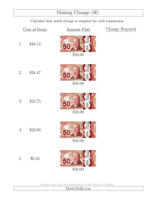The Making Change from Canadian $50 Bills (H) Math Worksheet