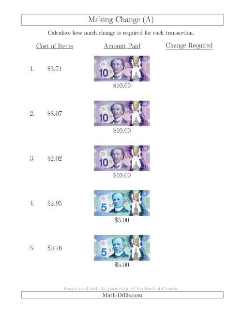 worksheet Canada Worksheets making change from canadian bills up to 10 a money worksheet the worksheet