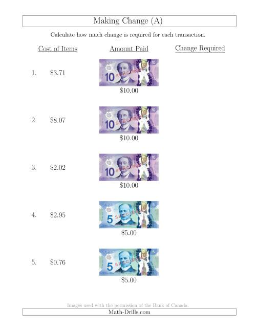 The Making Change from Canadian Bills up to $10 (A) Math Worksheet