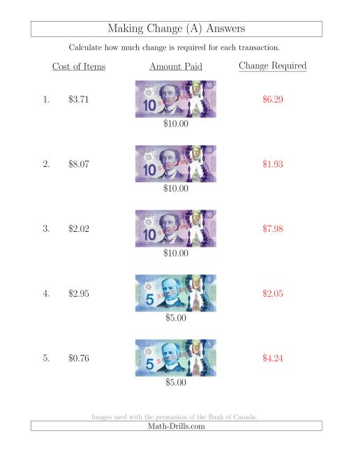 The Making Change from Canadian Bills up to $10 (A) Math Worksheet Page 2
