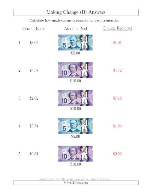 The Making Change from Canadian Bills up to $10 (B) Math Worksheet Page 2