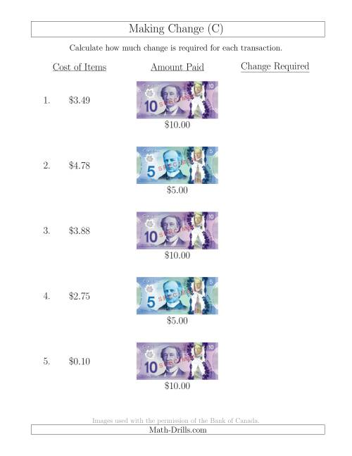 The Making Change from Canadian Bills up to $10 (C) Math Worksheet