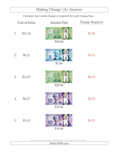 The Making Change from Canadian Bills up to $20 (A) Math Worksheet Page 2