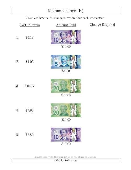 The Making Change from Canadian Bills up to $20 (B) Math Worksheet