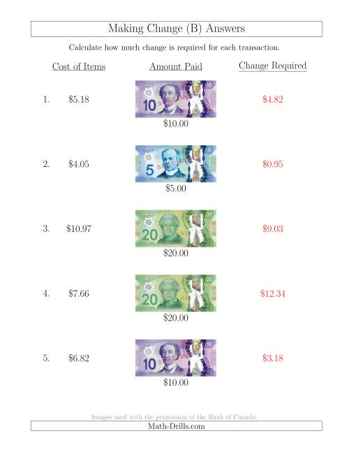The Making Change from Canadian Bills up to $20 (B) Math Worksheet Page 2