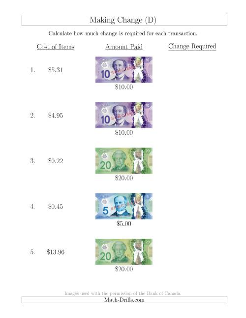 The Making Change from Canadian Bills up to $20 (D) Math Worksheet