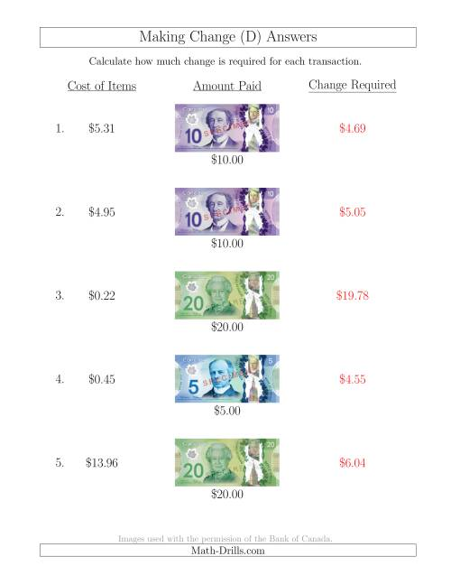The Making Change from Canadian Bills up to $20 (D) Math Worksheet Page 2