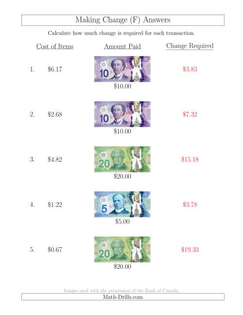 The Making Change from Canadian Bills up to $20 (F) Math Worksheet Page 2