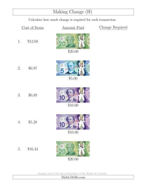 The Making Change from Canadian Bills up to $20 (H) Math Worksheet