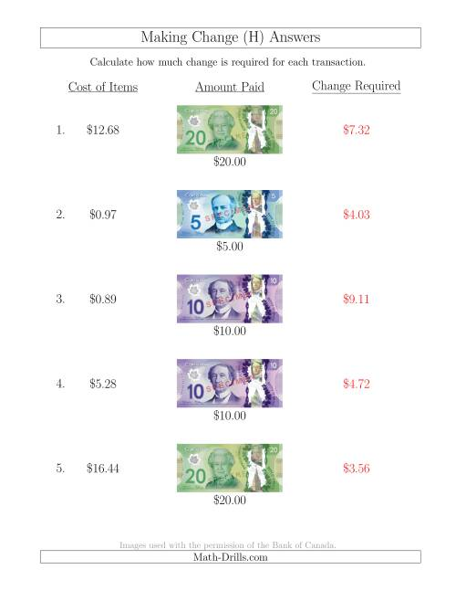 The Making Change from Canadian Bills up to $20 (H) Math Worksheet Page 2