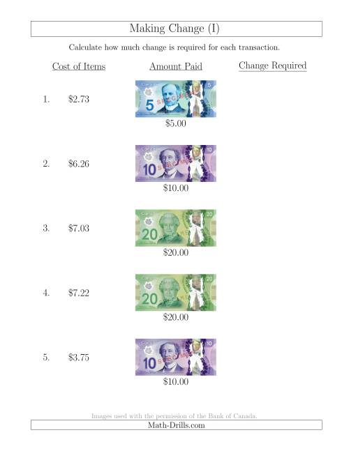 The Making Change from Canadian Bills up to $20 (I) Math Worksheet