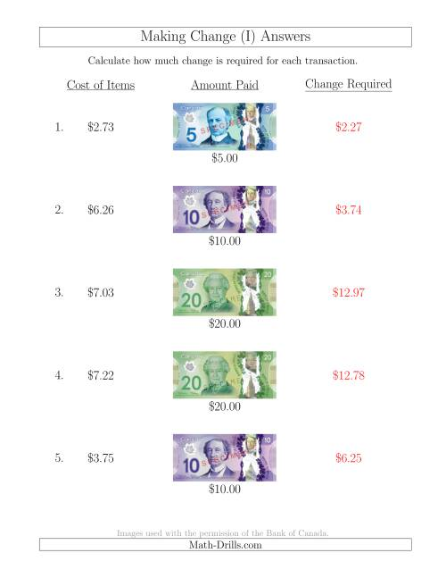 The Making Change from Canadian Bills up to $20 (I) Math Worksheet Page 2