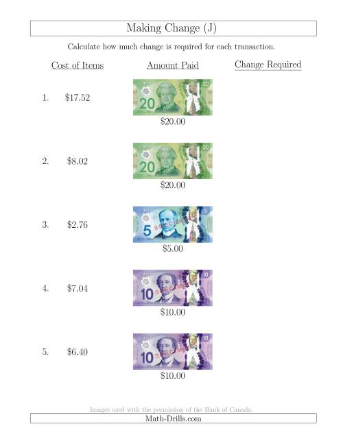 The Making Change from Canadian Bills up to $20 (J) Math Worksheet