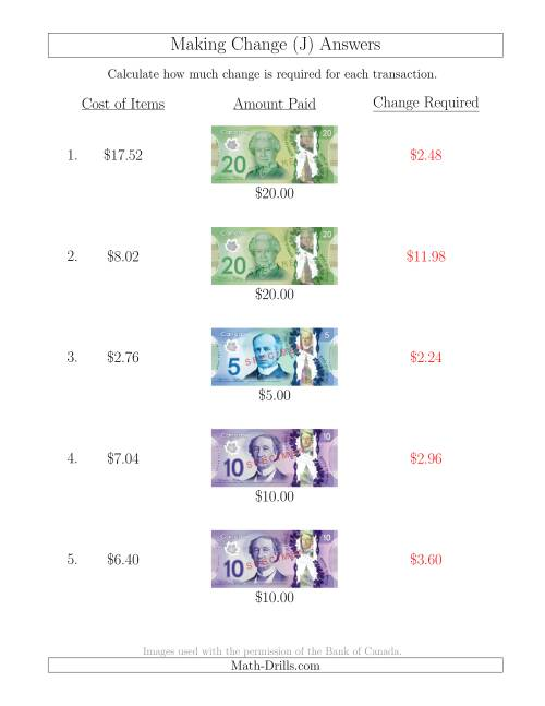 The Making Change from Canadian Bills up to $20 (J) Math Worksheet Page 2