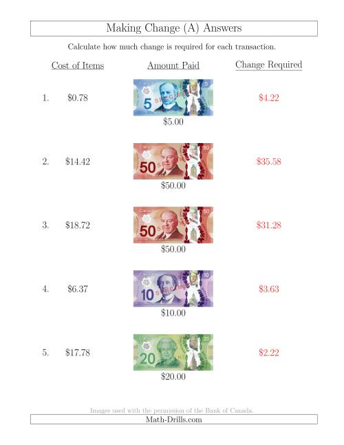 The Making Change from Canadian Bills up to $50 (A) Math Worksheet Page 2