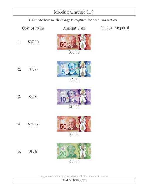 The Making Change from Canadian Bills up to $50 (B) Math Worksheet