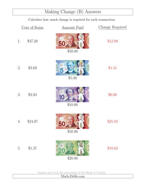 The Making Change from Canadian Bills up to $50 (B) Math Worksheet Page 2