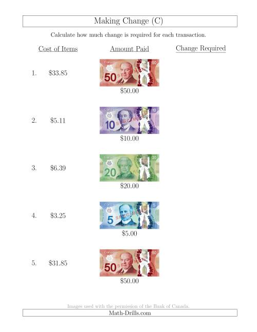 The Making Change from Canadian Bills up to $50 (C) Math Worksheet
