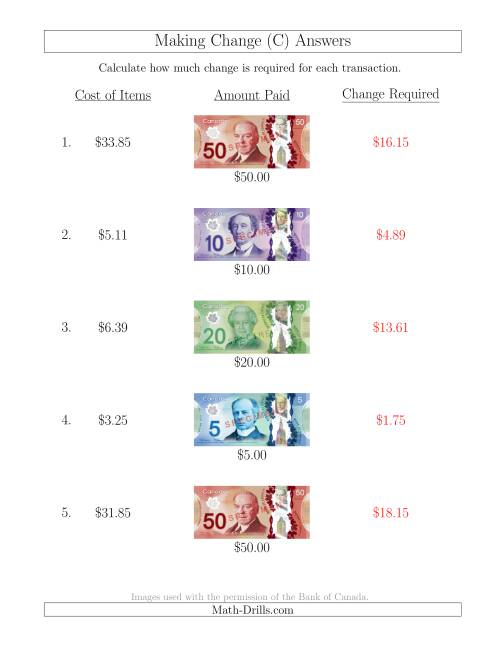 The Making Change from Canadian Bills up to $50 (C) Math Worksheet Page 2