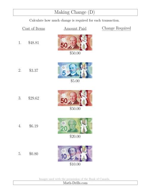 The Making Change from Canadian Bills up to $50 (D) Math Worksheet