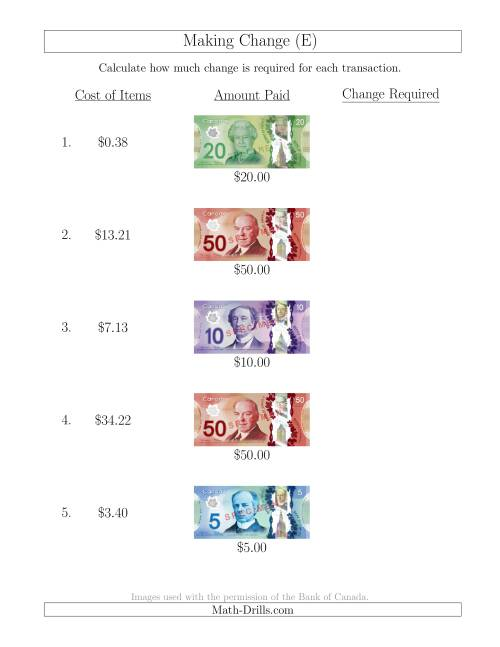 The Making Change from Canadian Bills up to $50 (E) Math Worksheet