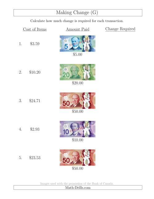 The Making Change from Canadian Bills up to $50 (G) Math Worksheet