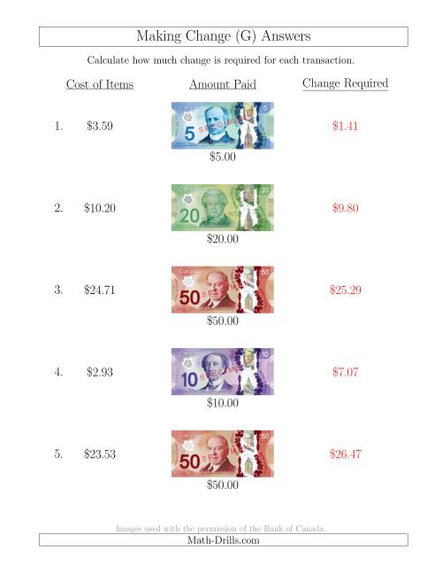 The Making Change from Canadian Bills up to $50 (G) Math Worksheet Page 2