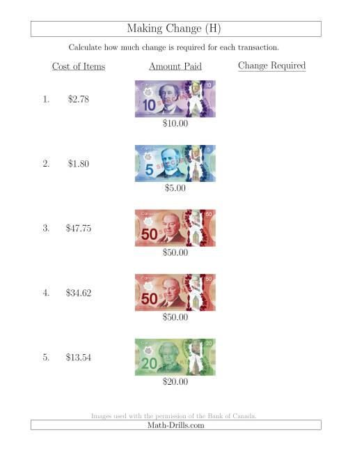 The Making Change from Canadian Bills up to $50 (H) Math Worksheet