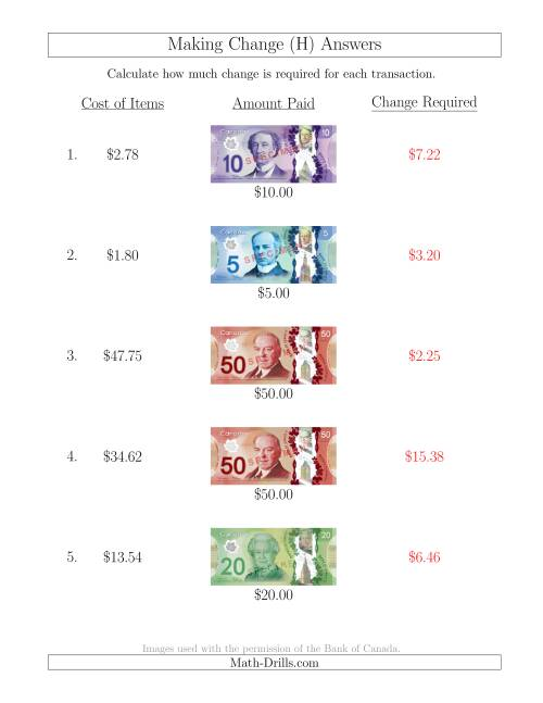 The Making Change from Canadian Bills up to $50 (H) Math Worksheet Page 2