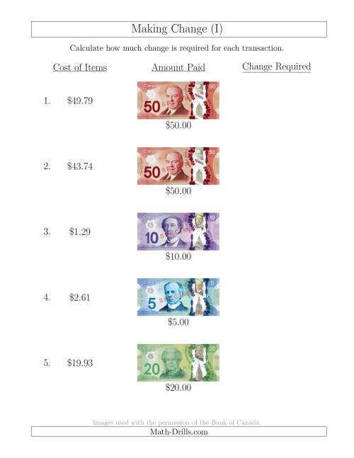 The Making Change from Canadian Bills up to $50 (I) Math Worksheet
