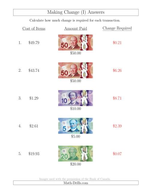 The Making Change from Canadian Bills up to $50 (I) Math Worksheet Page 2