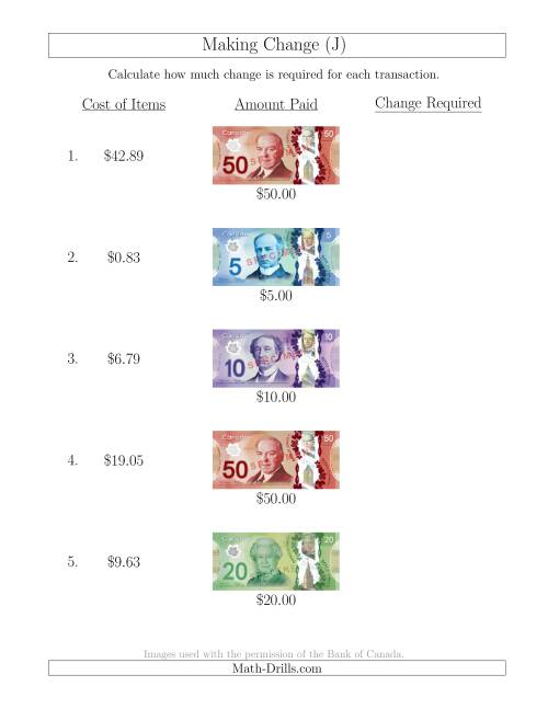 The Making Change from Canadian Bills up to $50 (J) Math Worksheet