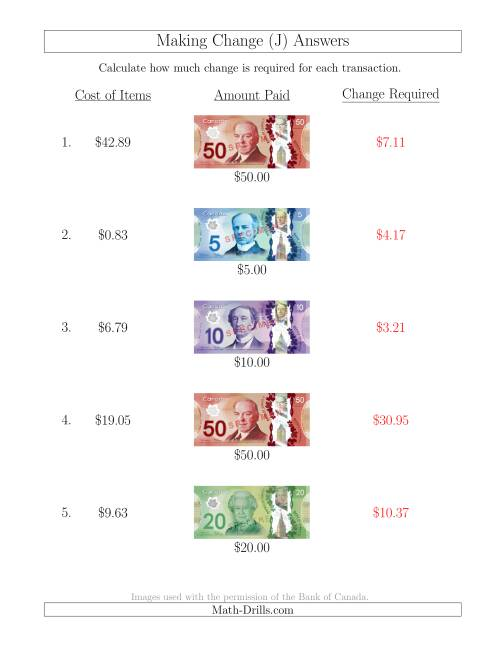The Making Change from Canadian Bills up to $50 (J) Math Worksheet Page 2
