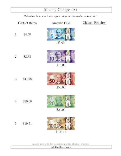 Uncategorized Canadian Money Math Worksheets making change from canadian bills up to 100 a