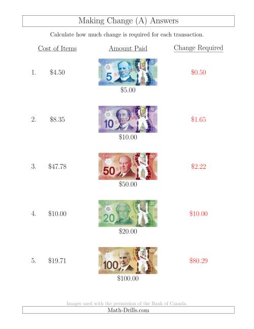The Making Change from Canadian Bills up to $100 (A) Math Worksheet Page 2