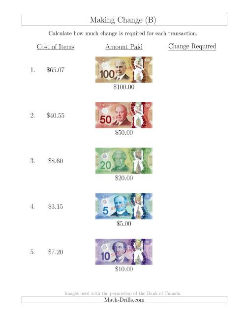 The Making Change from Canadian Bills up to $100 (B) Math Worksheet