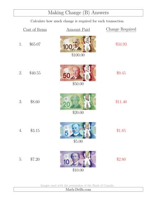 The Making Change from Canadian Bills up to $100 (B) Math Worksheet Page 2