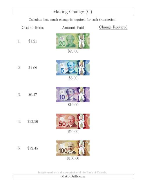 The Making Change from Canadian Bills up to $100 (C) Math Worksheet