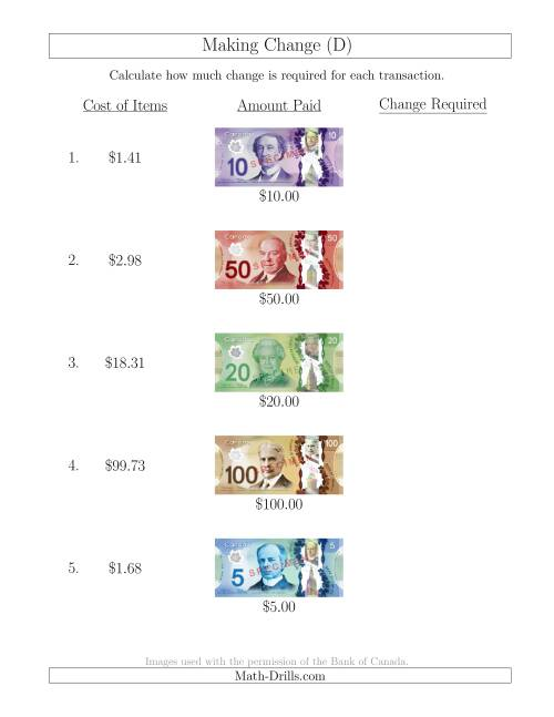 The Making Change from Canadian Bills up to $100 (D) Math Worksheet