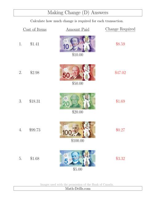 The Making Change from Canadian Bills up to $100 (D) Math Worksheet Page 2