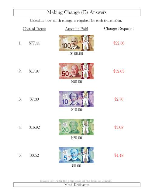 The Making Change from Canadian Bills up to $100 (E) Math Worksheet Page 2