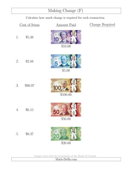 The Making Change from Canadian Bills up to $100 (F) Math Worksheet
