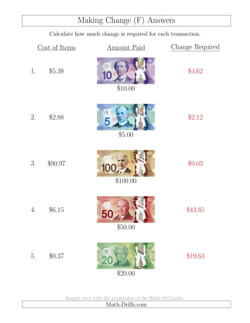 The Making Change from Canadian Bills up to $100 (F) Math Worksheet Page 2