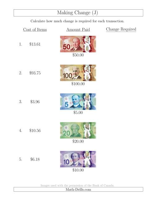 The Making Change from Canadian Bills up to $100 (J) Math Worksheet