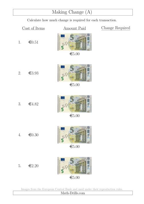 The Making Change from 5 Euro Notes (A) Math Worksheet