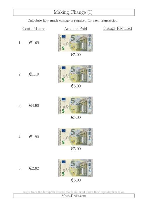 The Making Change from 5 Euro Notes (I) Math Worksheet