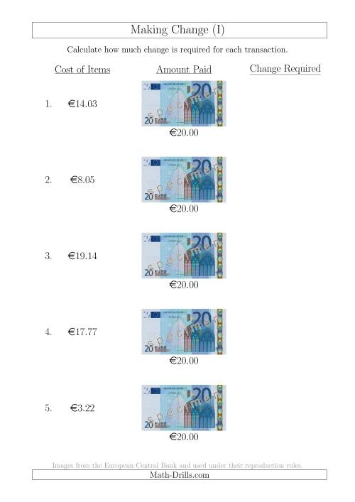 The Making Change from 20 Euro Notes (I) Math Worksheet